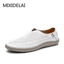 MIXIDELAI/Новая летняя повседневная обувь; мужские лоферы из натуральной кожи; Мокасины Мужчины вождения; обувь высокого качества на плоской подошве для мужчин; размеры 38-46