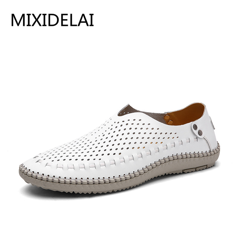 MIXIDELAI New Summer Causal Shoes Men Loafers Genuine Leather Moccasins Men Driving Shoes High Quality Flats For Man Size 38-46