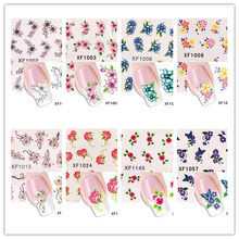 1 pcs Flowers Nail Stickers Succulent plants Water Decal Ocean Cat Pattern 3D Manicure Sticker Nail Art Decoration m3t26(China)