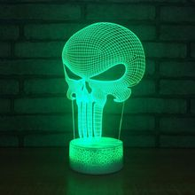купить The Punisher 3D Table Lamp Baby Sleep Lighting LED Nightlight Usb Kids Bedroom Decor Christmas Gift дешево
