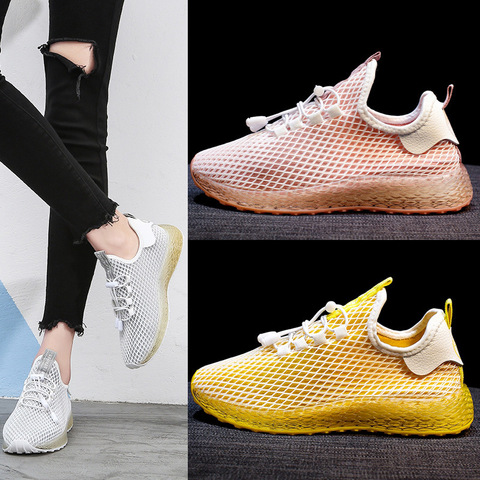 Sneakers Women Sports Shoes Lace-Up Running Shoes Fashion Summer Mesh Round Cross Street Sneakers Walking Shoes Casual Shoes Pakistan