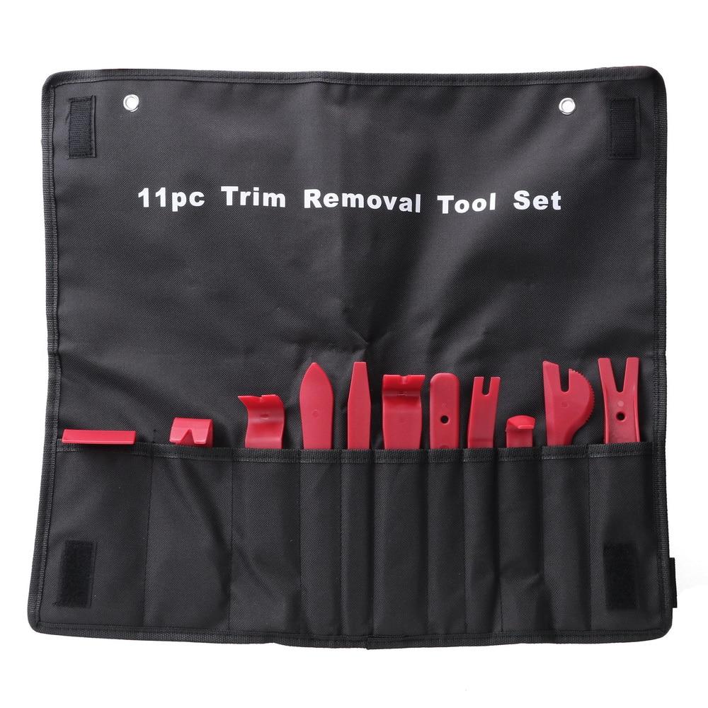 YOSOLO 11pcs/set Trim Removal Tool Set Nylon Storage Bag Auto Upholstery Tools Door Molding Dash Panel Trim Tool Kit