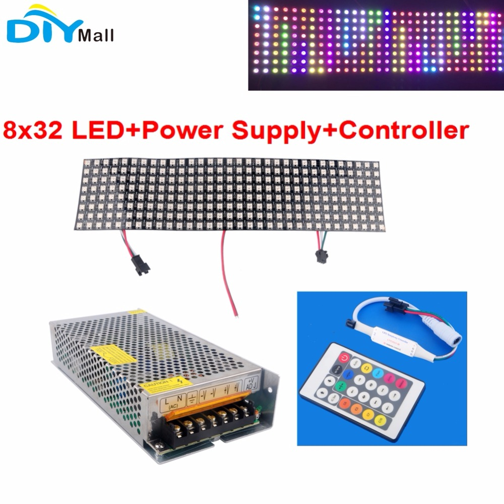 Addressable WS2812 5050 8X32 Pixels RGB Flexible LED Matrix Panel +DC5V 20A 100W Power Supply Transformer+IR LED Controller
