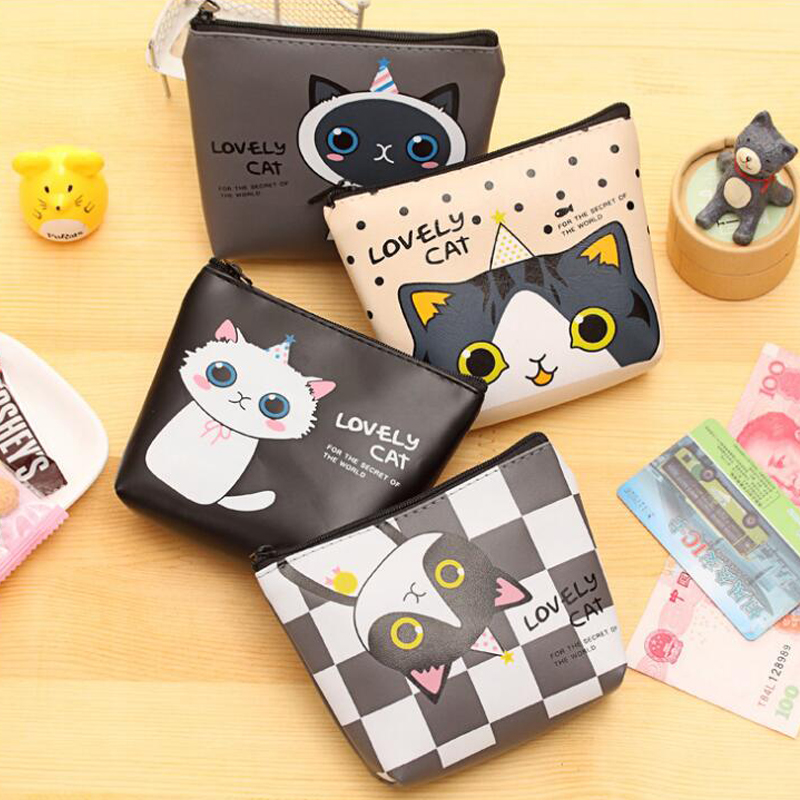 QZH 2017 Cute Cat Cartoon Coin Purse For Women Girl PU Leather Wallets Zipper Change Purses Wallet Card Holder Coin Pocket Gifts cute cartoon cat pattern pu long wallet for women watermelon red