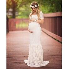 2018 Mermaid sukienka ciążowa fotografia rekwizyty Sexy Lace Maxi suknia macierzyńska na sesje zdjęciowe kobiety ciąża sukienka ubrania