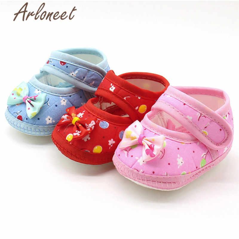 ARLONEET 2019 ทารกแรกเกิดเด็กหญิงเด็กหญิงผ้าฝ้ายผ้า Canvas Anti - slip รองเท้าโบว์การ์ตูนพิมพ์รองเท้าผ้าใบเด็กน่ารักผ้ารองเท้า
