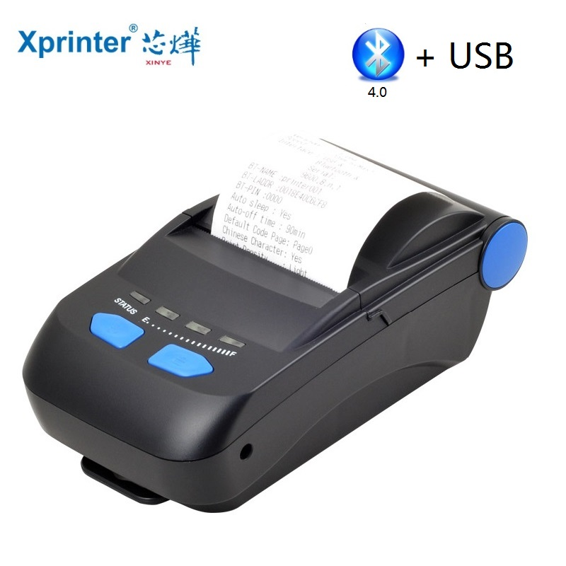 58mm Bluetooth Thermal Printer USB and Bluetooth 4.0 Android Ticket Printer Mini Receipt Bill Machine for Supermarket new hot thermal printer 5890t supermarket takeaway intelligent bluetooth food and beverage printer 90mm s 57 5 0 5mm 220v