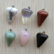 Wholesale 12pcs/lot  Fashion Assorted Natural Stone Pyramis Shape charms Pendants For DIY Necklace jewelry making  free shipping