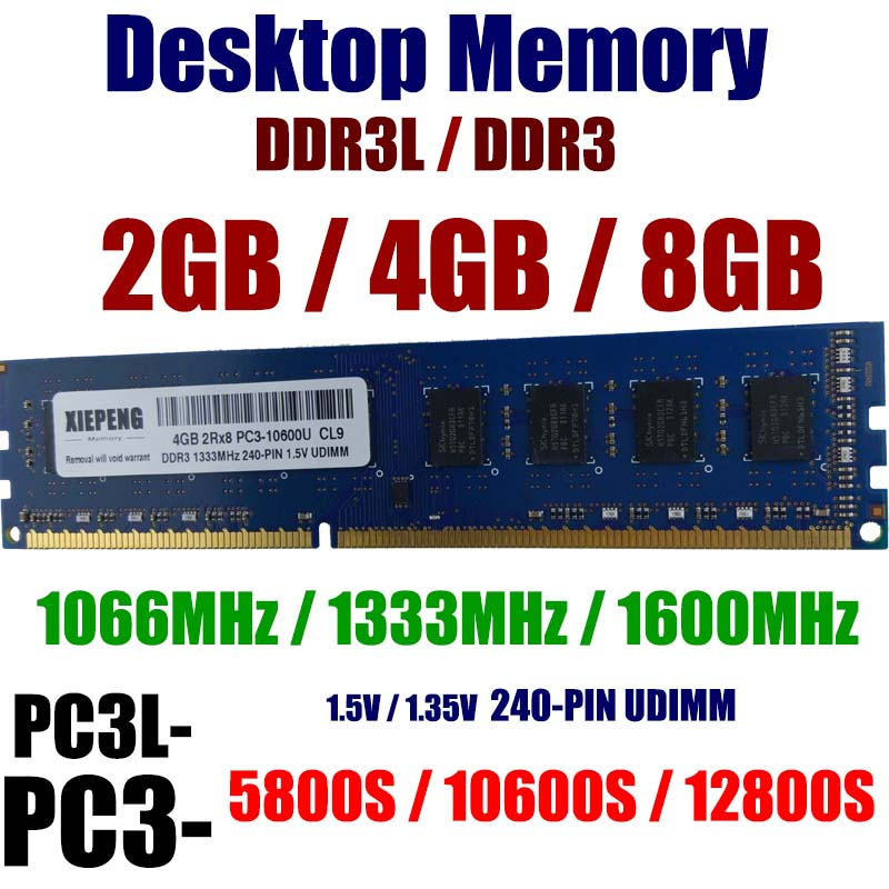 Настольные компьютеры память 8GB 2Rx8 PC3-10600 DDR3 1333MHz 4096MB DDR3L 1600 PC3 12800 2GB 8500 1066MHz RAM 240-PIN без буфера NON-ECC DIMM