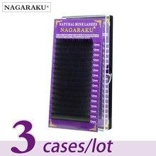 NAGARAKU 속눈썹 밍크 속눈썹 메이크업 3 케이스/많은 개별 속눈썹 Faux Cils 거짓 속눈썹 Cilios 아름다움