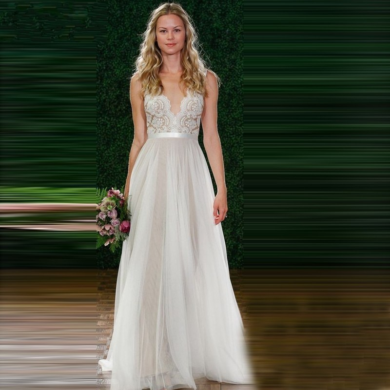 Famous Design Wedding Dress Lace Bridal Gowns Sexy Sheer