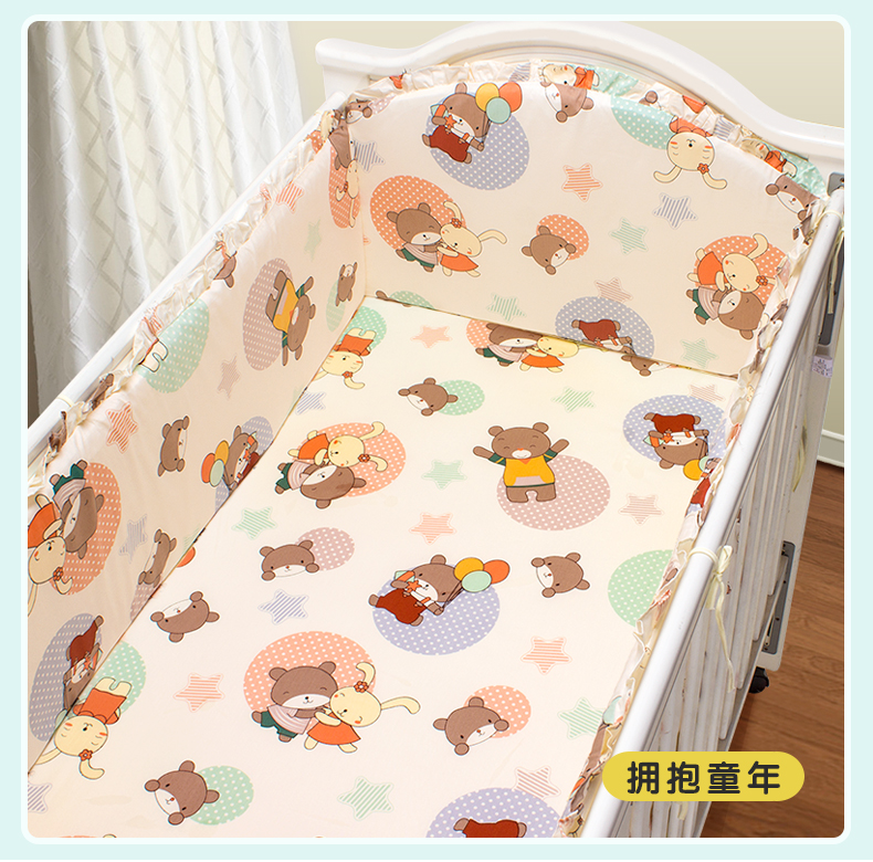 Promotion! 5PCS Cartoon 100% cotton cot bumper crib baby bedding set,(4bumpers+sheet) promotion 5pcs 100