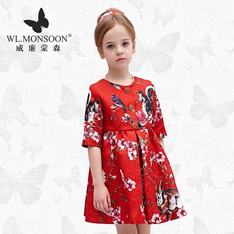 Marque fille robe automne/hiver rouge robe de princesse grande robe pour enfants nouvel an princesse vêtements