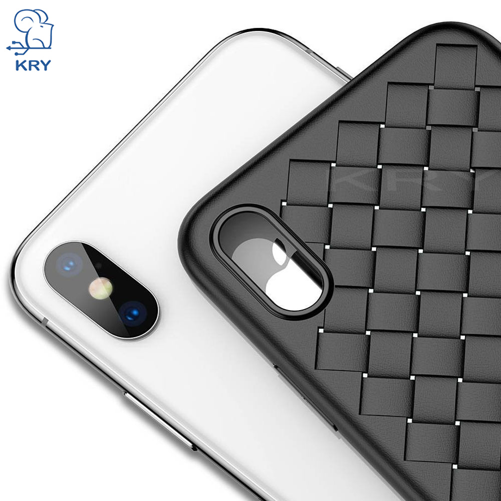 KRY Super Soft TPU Phone Cases For iPhone 7 Case 7 8 6 6S Plus Cover For iPhone 6 Case 5S 5 SE X Cases Luxury Grid Weaving Capa