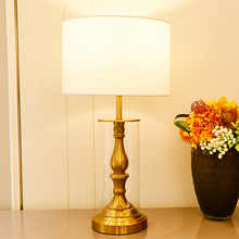 Amrican Style Vintage Clear Glass Copper Colour Metal Table Lamp For Living Room Modern Led Study Home Decor