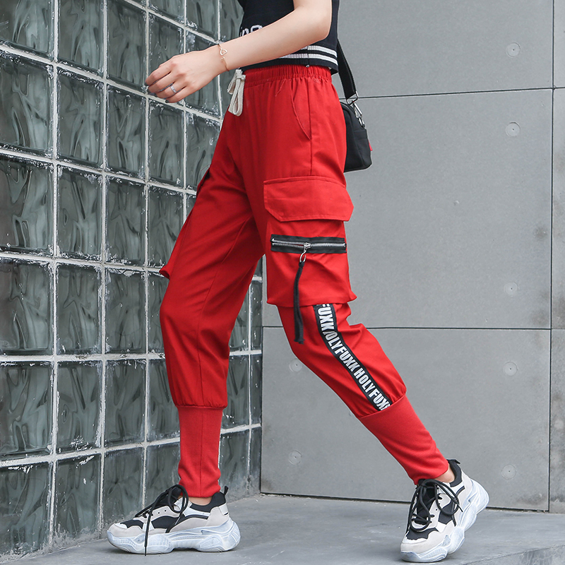 Women's Cargo Pants Elastic Waist Letters Printed Side Stripe Big Pockets Sport Harem Pants Female Red Plus Size Trousers P9116