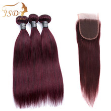 JSDshine Pre-Colored Brazilian Hair Straight 3 Bundles With Closure Red 99J Burgundy Human Hair Weave With Closure Non Remy(China)