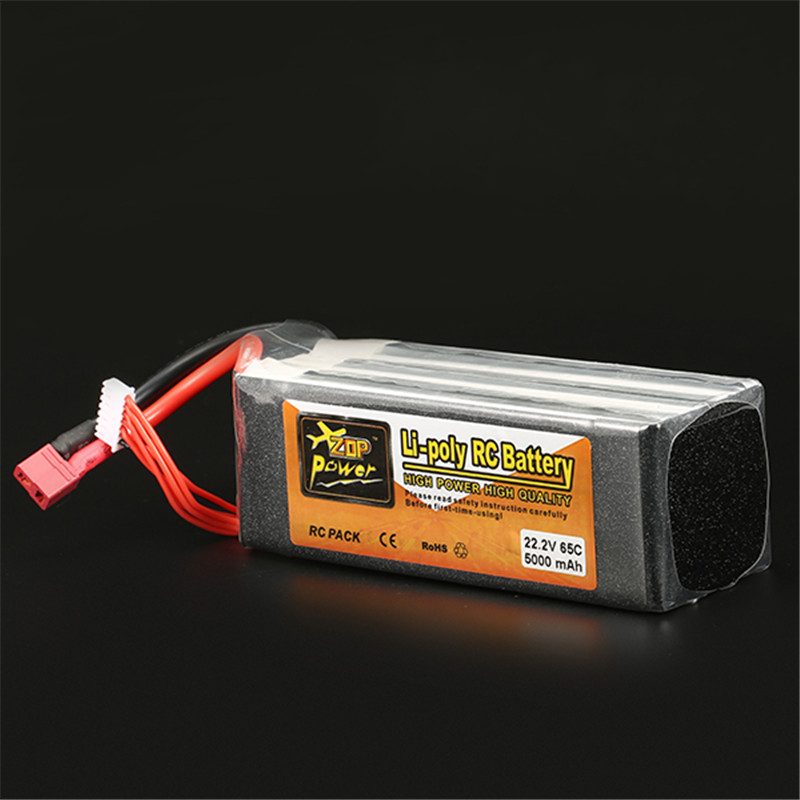 Rechargeable Lipo Battery ZOP Power 22.2V 5000mAh 6S 65C Lipo Battery T Plug RC Quadcopter Spare Parts Accessories Accs high quality zop power 14 8v 2200mah 4s 45c lipo battery t plug rechargeable lipo battery for rc helicopter part