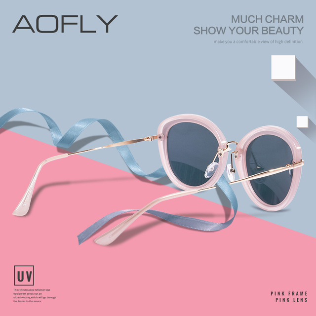 AOFLY BRAND DESIGN Fashion Ladies Cat Eye Sunglasses Metal Legs Polarized Sunglasses Women Oculos Gafas A137 1