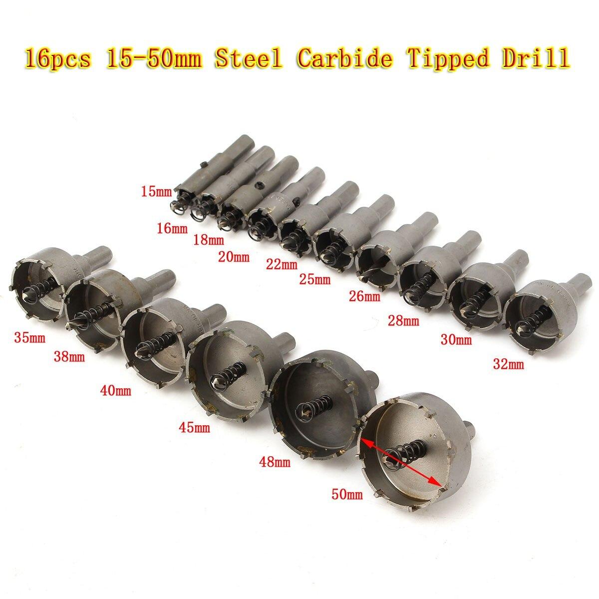 16 pièces foret trou scie 15-50mm carbure pointe TCT pour acier inoxydable métal alliage acier carbure trou scie ensemble foret