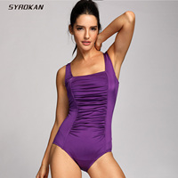 SYROKAN Women S One Piece Pleated Maillot Endurance Athletic Training Swimsuit