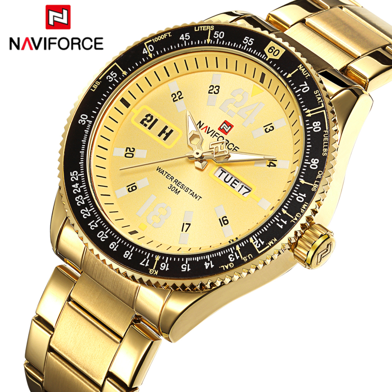 Top Brand NAVIFORCE Men Full Steel Luminous Watches Men's Quartz Analog Watch Man Fashion Swim Sports Army Military Wrist Watch 2016 men s brand naviforce fashion sports watches men 3d dial quartz watch man nylon strap army military wrist watches