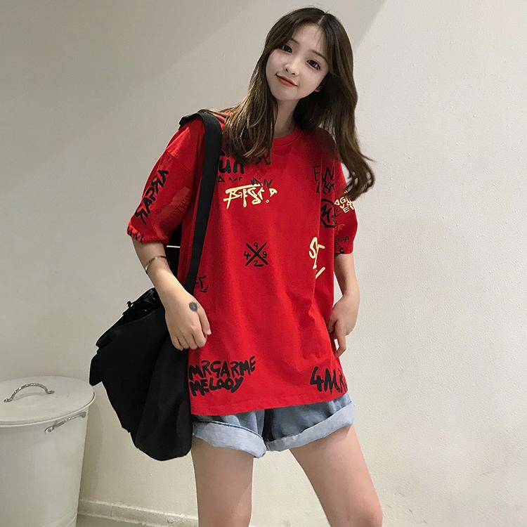T-shirts Women Graffiti BF European Style Loose Harajuku Hip Hop Streetwear Chic Couple Clothes Unisex Daily Tshirt Womens Soft 98