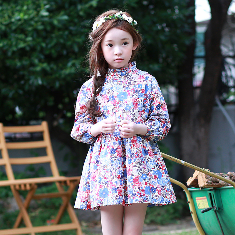 2018 New Teenagers Baby Girls Elegant Dresses Floral Printed Dress For Girls Long Sleeve Spring Autumn Costume Children Clothing
