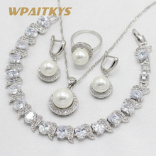 925 Silver Bridal Jewelry Sets For Women White Freshwater Pearl Zirconia Necklace Pendant Earrings Ring Bracelet Gift Box