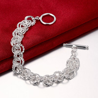 2016 New Top Quality 925 Sterling silver Link Circle chains Bracelet For Men women trendy jewelry CH023