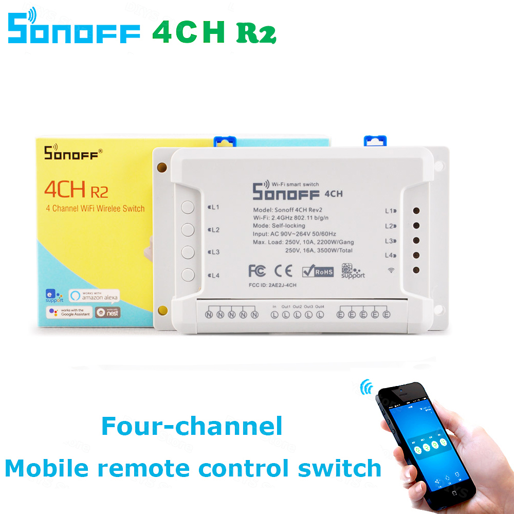 Itead Sonoff Wifi Switch 4CH 4-Gang 4-Way Din Rail Mounting on/off Wifi Remote Control Wireless Switch For Smart Home 16A/3500W sonoff smart wifi switch 4 gang 4ch wireless switches din rail mounting home automation on off phone remote control 10a 2200w