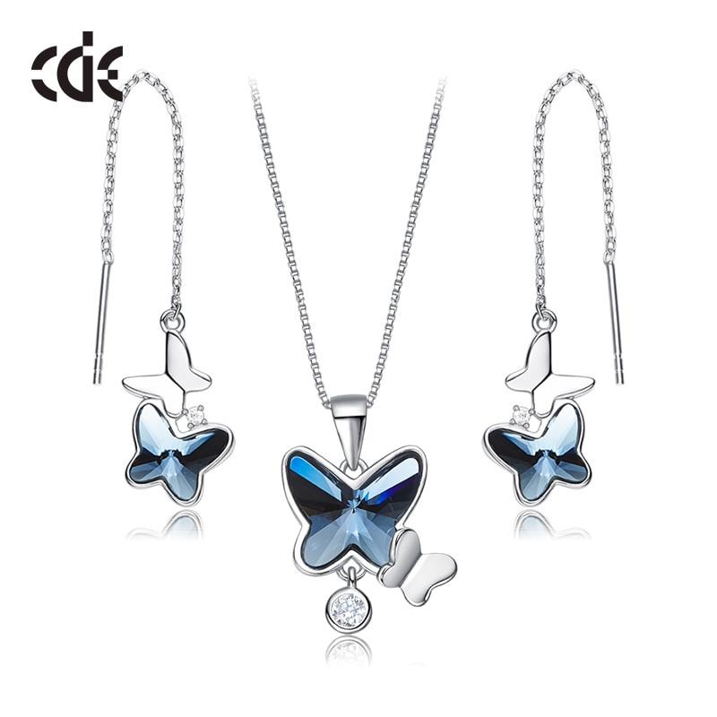 Takı ve Aksesuarları'ten Takı Setleri'de CDE 925 ayar gümüş takı seti kadınlar için Swarovski kristalleri ile süslenmiş kelebek takı seti anneler günü hediyesi'da  Grup 1