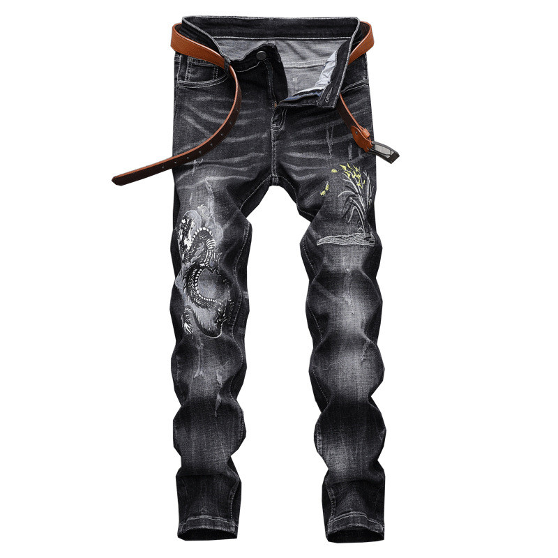 MORUANCLE Fashion Men's Ripped Embroidered Jeans Stretch Distressed Denim Pants Trousers With Dragon Embroidery Straight