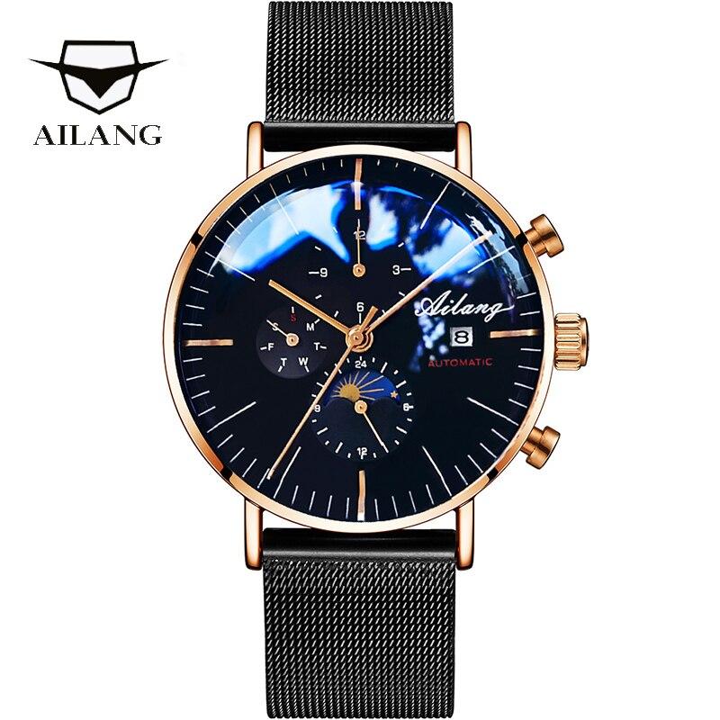 29c275d3ed30 AILANG marca de diseño automático suizo Reloj Bijou piloto Reloj mecánico  relojes de buceo de los hombres de Reloj Diesel SSS minimalista hombre