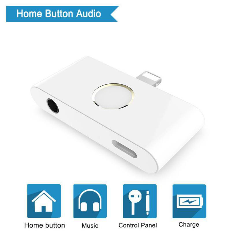 New Arrival External Home Button Audio Earphone Jack Charge Adapter Converter For IPhone X/8/8 Plus/ 7 /7plus/ IPad 4