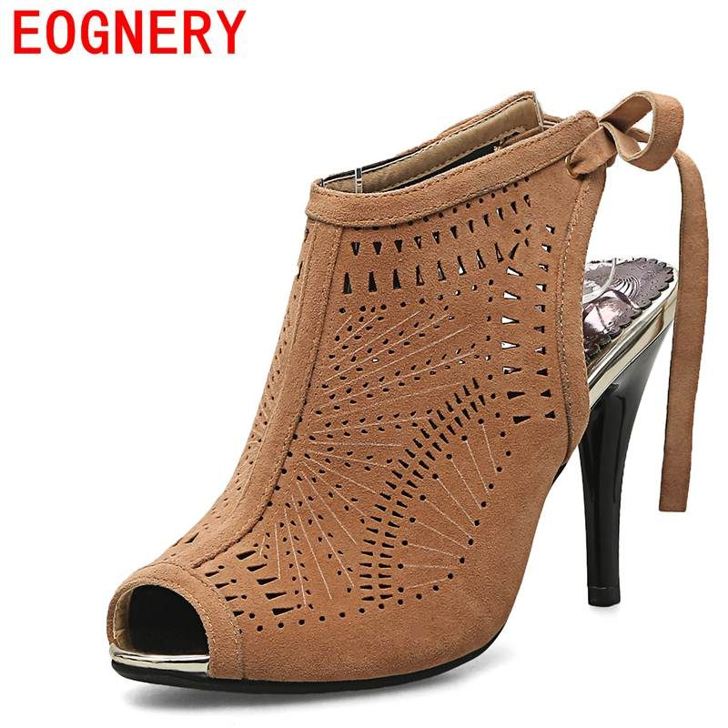 ФОТО egonery summer boots woman sandals 2017 high heels peep toe hollow shoes ladies 10 cm high heel ankle boots summer shoes 33-44CN