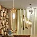 1 PC postmoderno minimalista de acero inoxidable anillo de oro colgante de luz creativa personalidad bar club restaurante lámpara colgante CL FG287