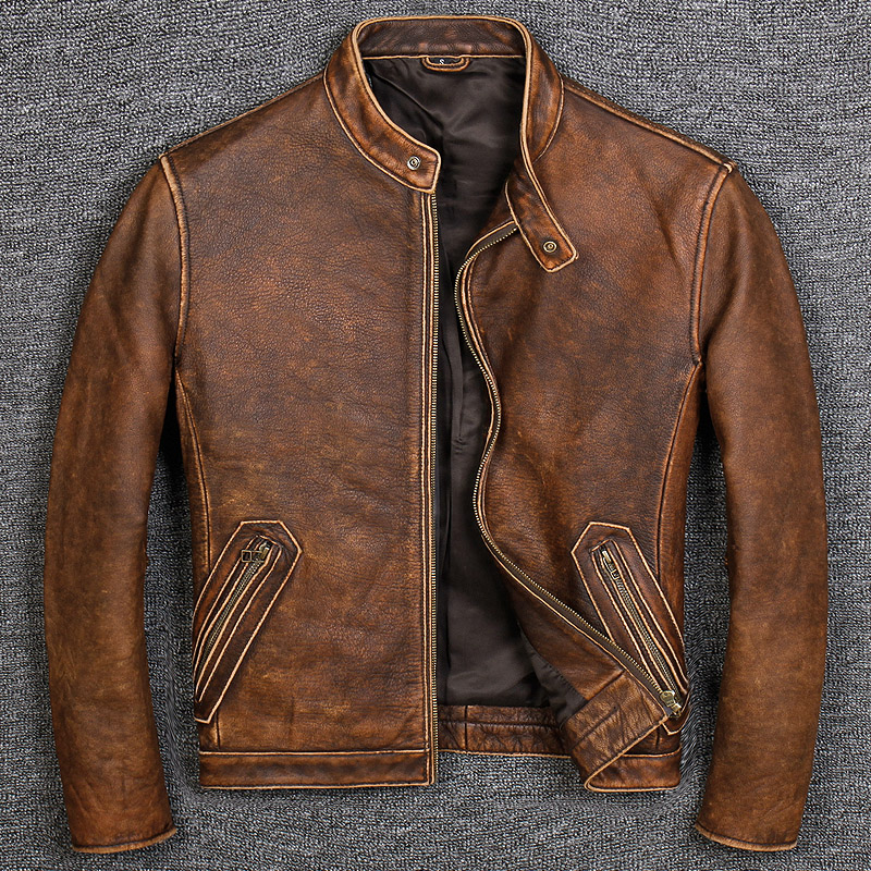 Cowhide Jacket Biker 100%Genuine-Leather Vintage Coat.sales Mens Brand Free Classic-Style