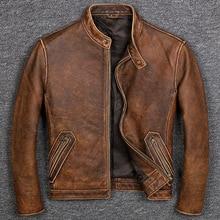 Большие размеры брендовая Классическая стильная куртка из воловьей кожи, мужские куртки из натуральной кожи, байкерские винтажные качественные пальто. Распродажа