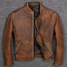 Бесплатная доставка. Брендовая Классическая Повседневная стильная куртка из воловьей кожи, мужская одежда из 100% натуральной кожи, винтажное качественное байкерское кожаное пальто.