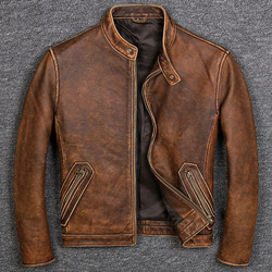 Free shipping.Brand Classic casual style cowhide jacket,mens 100% genuine leather clothesvintage quality biker leather coat.