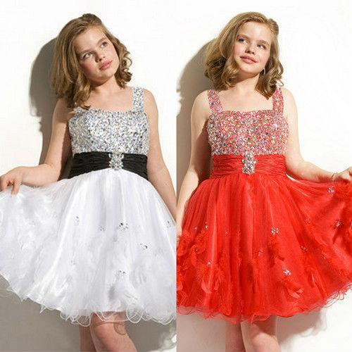 junior girl red white pleated waistband a line mini tank strap beaded  brooch rhinestone feather dresses for girls 583e6c42dfa6