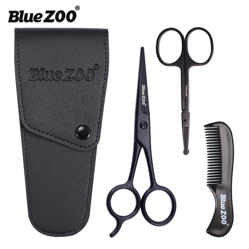 3pcs/set Beard Care Set Professional Hair Scissors And Comb Set For Men Hair Scissor Moustache Beard Trimming Grooming Scissors