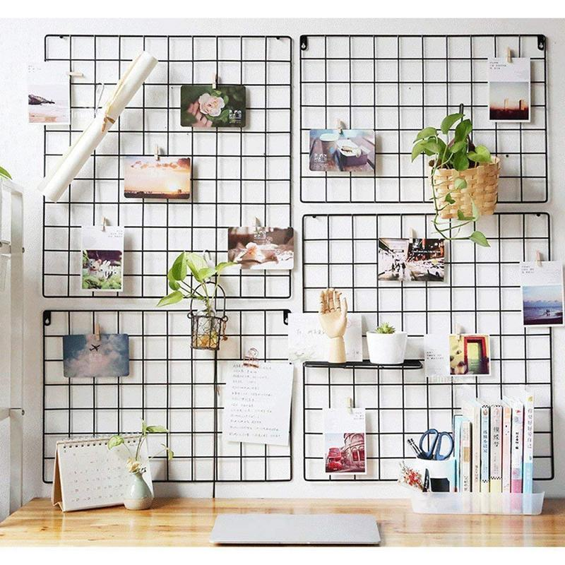 DIY Grid Photo Wall Multifunction Wall Mounted Ins Mesh Display Panel Wall Art Display Organizer Memo Board wall shelf for tea pots