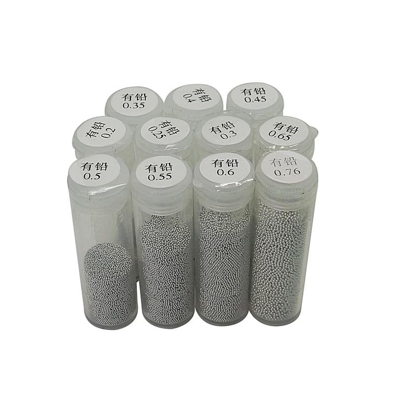 One Bottle 25K Leaded BGA Reballing Solder Ball (0.25, 0.3, 0.35, 0.4, 0.45, 0.5, 0.55, 0.6, 0.65, 0.76)