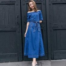 Off Shoulder Denim Dress Women 2019 Spring Summer Elegant Half Sleeve Slim Tunic Jeans Dresses Ladies Back Slit Maxi Dress robe цены