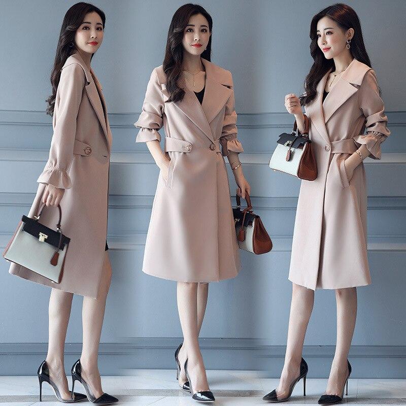 New Fashion   Trench   Coat Female Long 2018 Spring Autumn Slim   Trench   OL Ladies Outwear Plus Size4XL Manteau Femme Hiver Women Coat