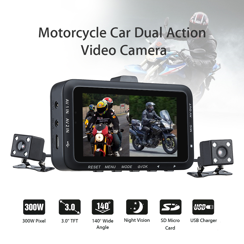 DV168 Dual Lens Motorcycle Car Mounted Biker font b Action b font Video font b Camera