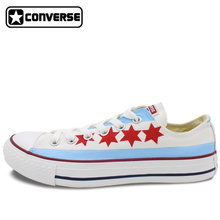 Chicago Flag Original Design Converse All Star Hand Painted Shoes Women Men Sneakers Classic Skateboarding Shoes Free Shipping
