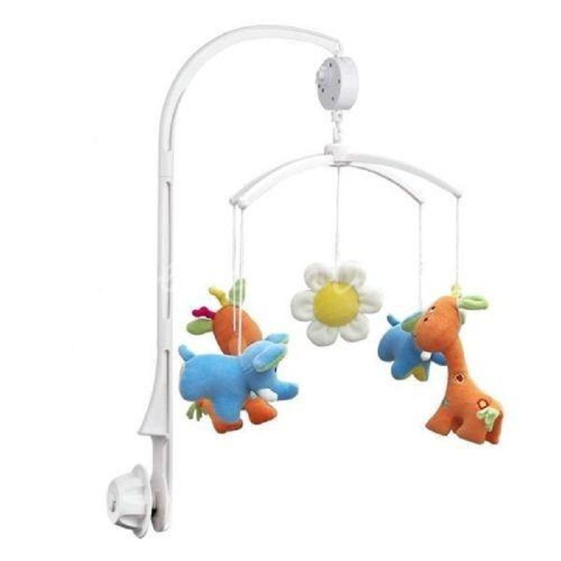 Baby Crib Mobile Bed Bell Toy Baby toys White Rattles Bracket Set Holder + Wind-up Music Box Free Shipping